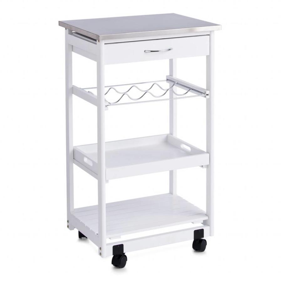 Zeller Present Houten keukentrolley wit met RVS bovenblad