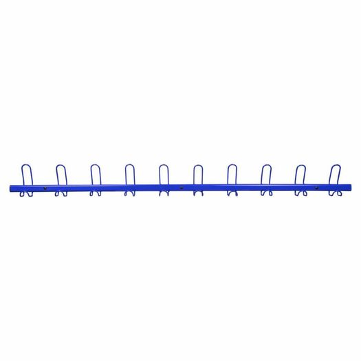 Wandkapstok met 10 kapstokhaken blauw