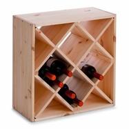 Houten wijnrek met schuine vakken