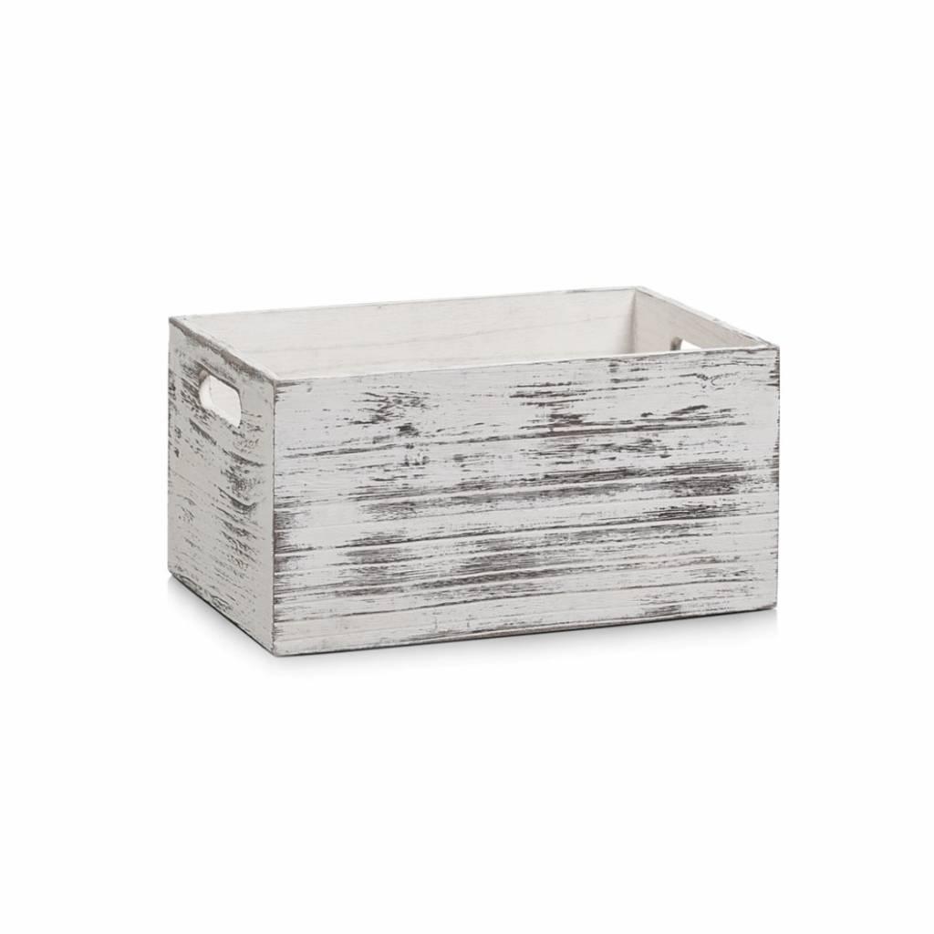 Witte Houten Box.Houten Kist Rustiek Wit 10 Liter