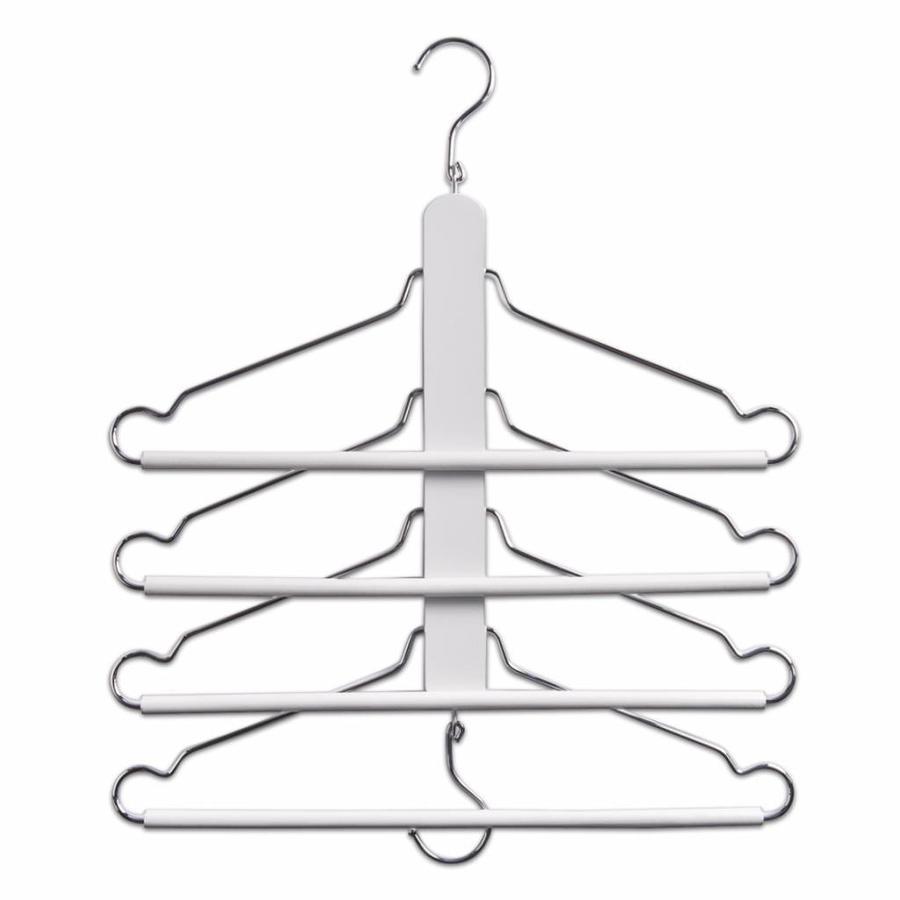 Zeller Present Inklapbare kledingbeugel met 4 kledinghangers wit