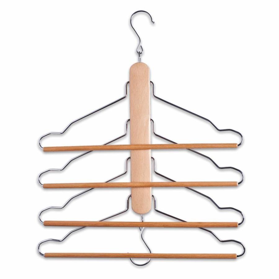 Zeller Present Inklapbare kledingbeugel met 4 kledinghangers beuken