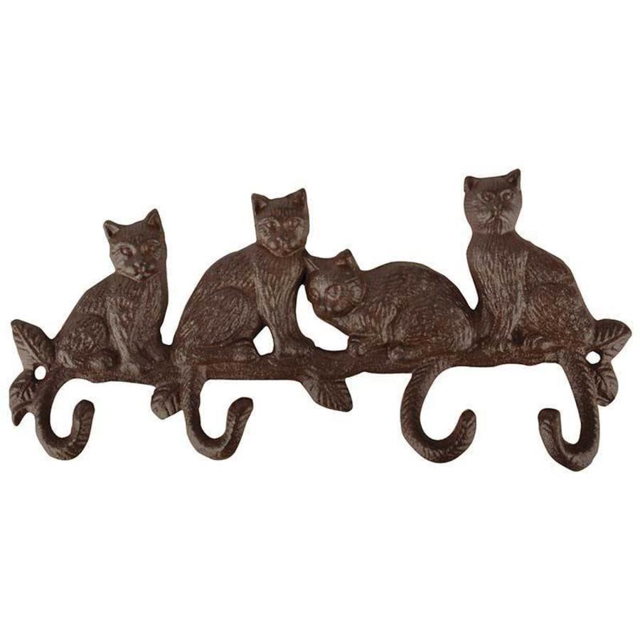 Esschert Design Gietijzeren kapstok katten met 4 kattenstaart haken