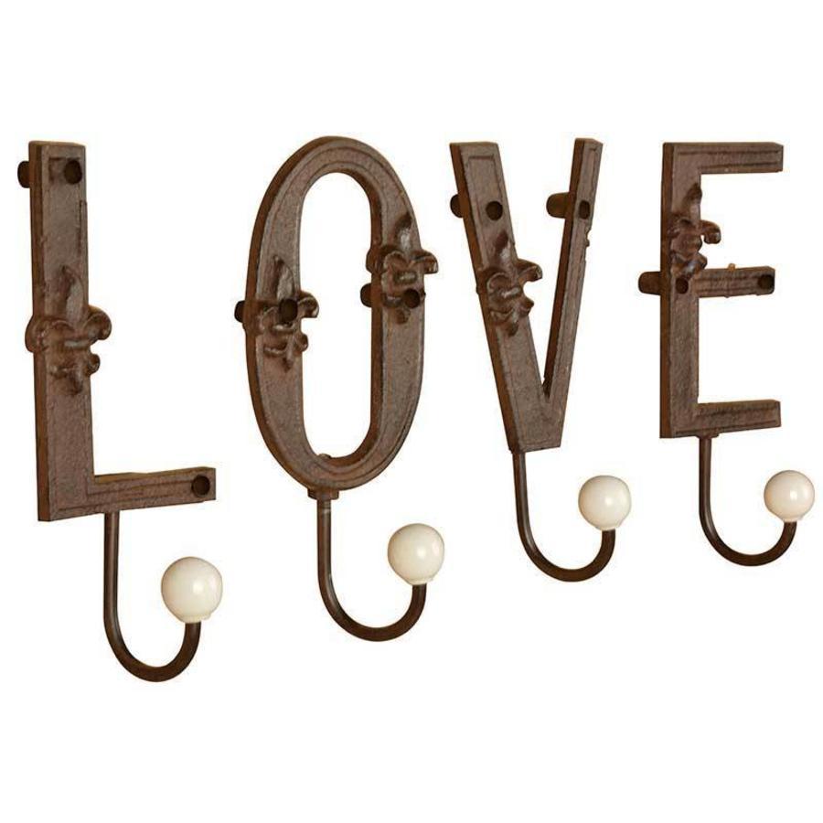 Esschert Design Gietijzeren letters LOVE inclusief haken met uiteinden van porselein