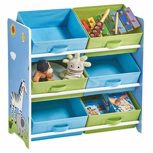 Opbergrek kinderkamer 6 boxen Safari