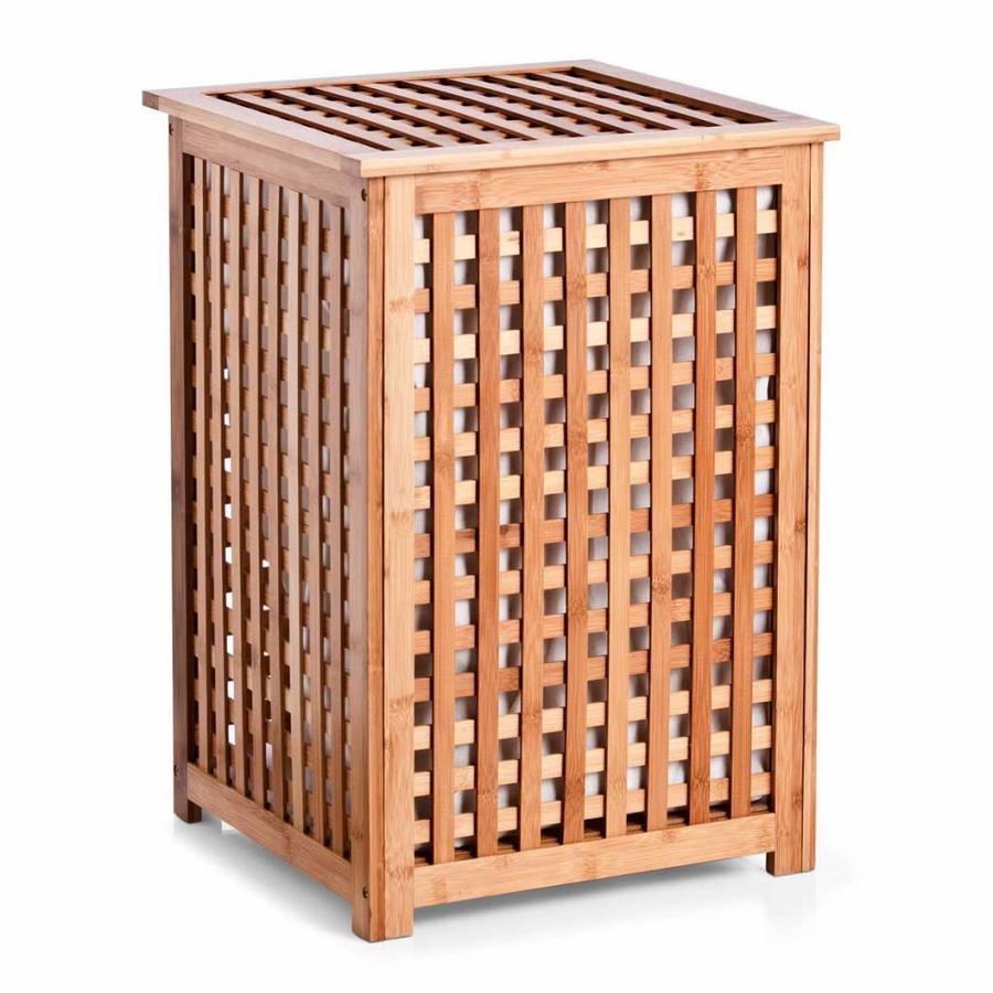 Zeller Present Houten wasmand met deksel bamboe
