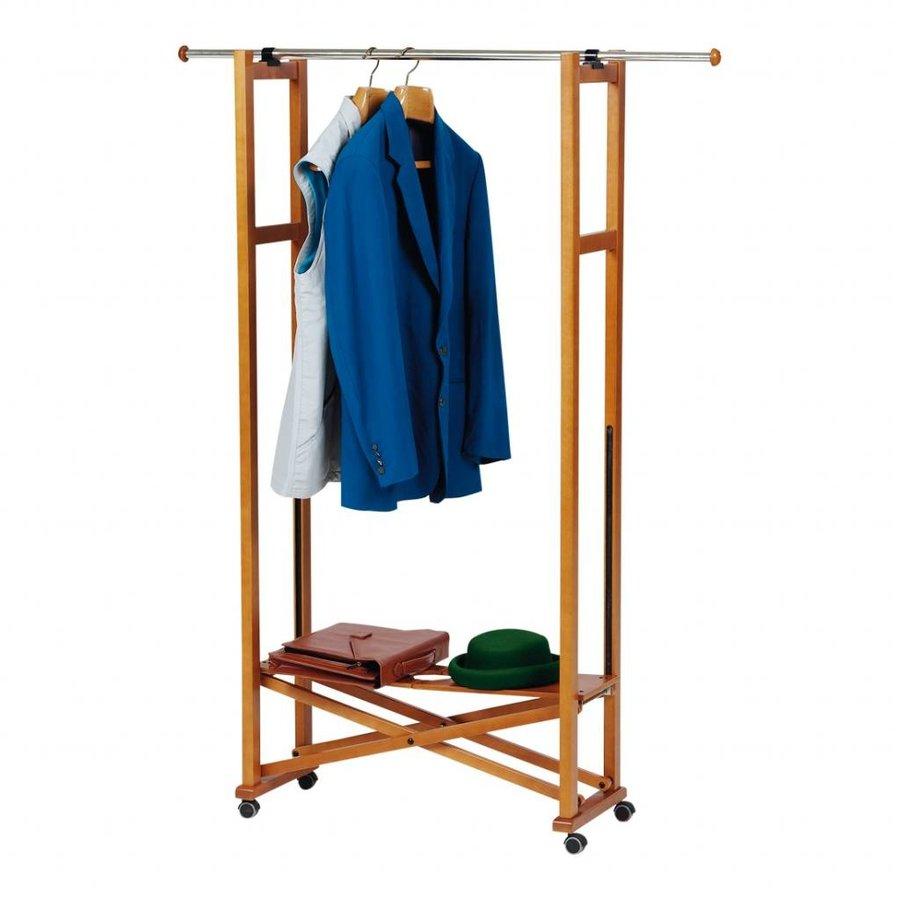 Arredamenti Italia Houten kledingrek ELIOS inklapbaar met RVS kledingroede