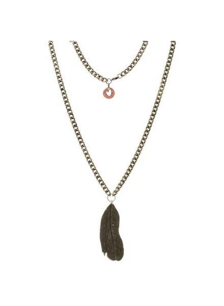 House of riots, Necklace Feather, Koper kleur