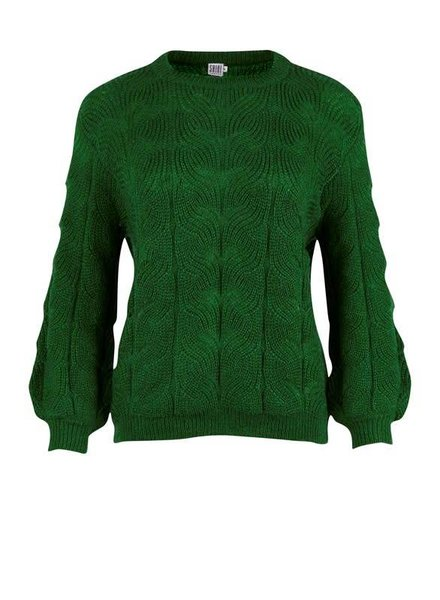 Saint tropez, R2055 Knit blouse with pointelt, Green