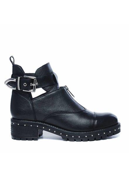 Bronx Bronx, Zwarte cut out boots met gesp en rits, Black