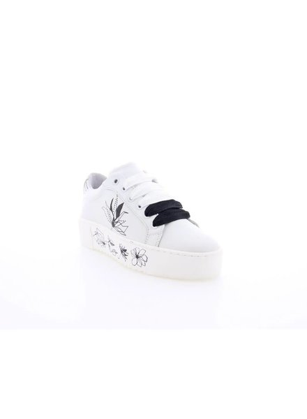 Leather sneaker with origami print, White/black
