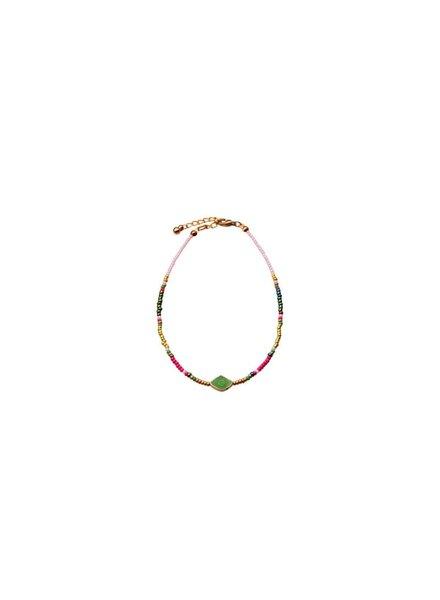 Bulu brands Bulu Brands, Beads & Pirus Anklet, Green Stone
