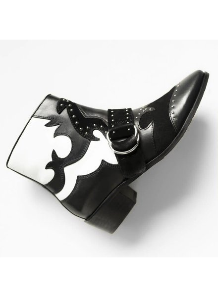 Bronx Cow vintage boots, black/white