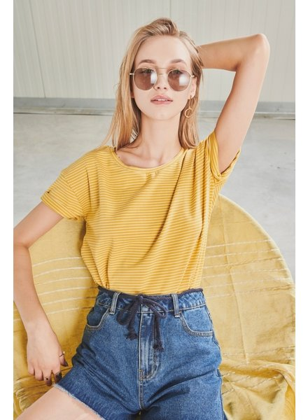 24 Colours, T-Shirt Striped, Yellow
