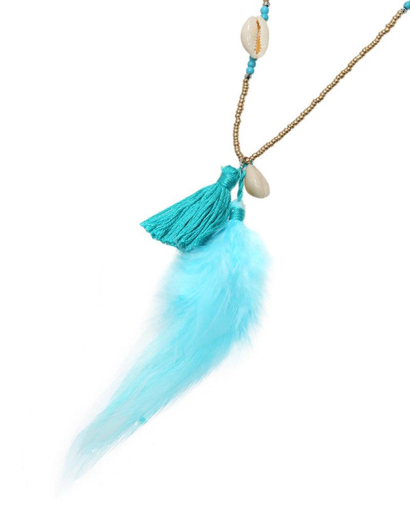 KUIF YW, Zonnebrillenkoord Beads & Feathers, Blue