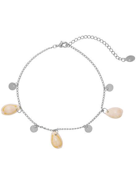 YW, Anklet Beach Shells, Silver