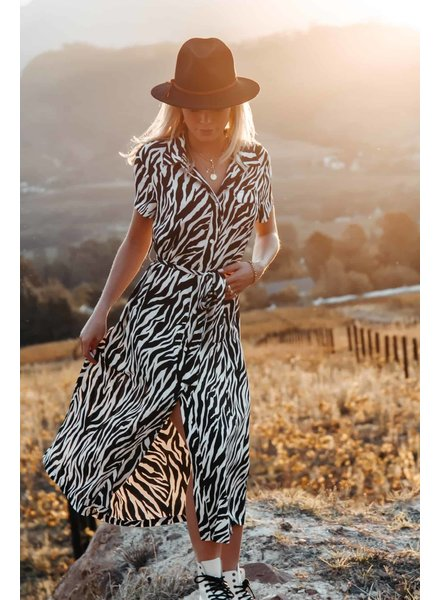 Colourful Rebel Colourful Rebel, Dalia Maxi Shirt Dress, Zebra