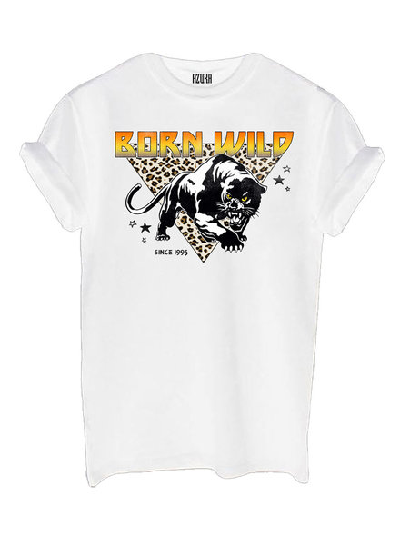 T-shirt Born wild, Wit
