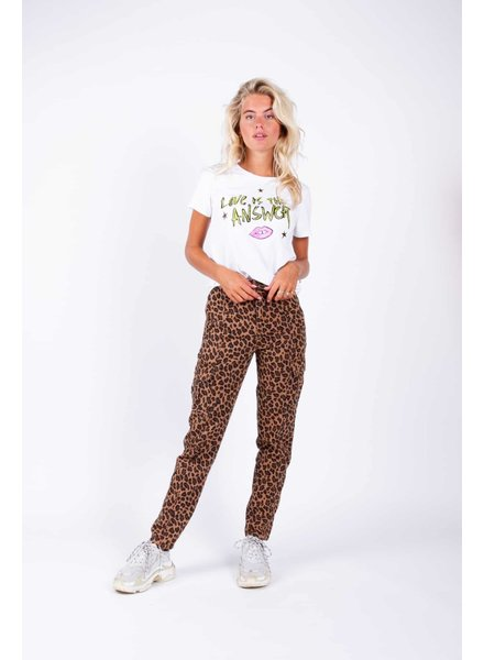 Colourful Rebel, Kayla Leopard Cargo Pants, Brown