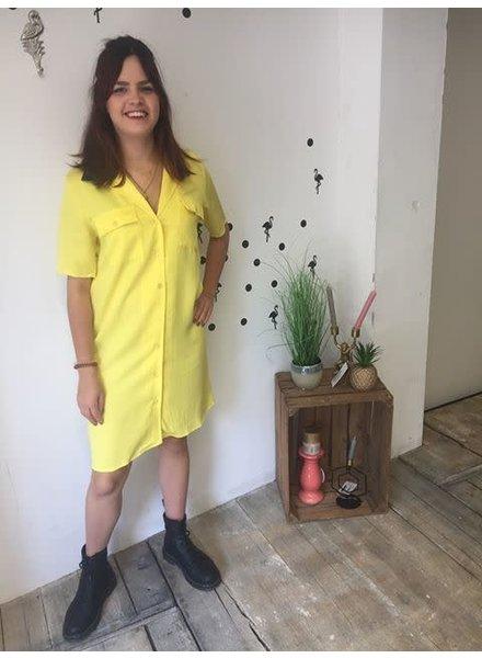 RBLZ, Tencel doorknoop jurk, Yellow