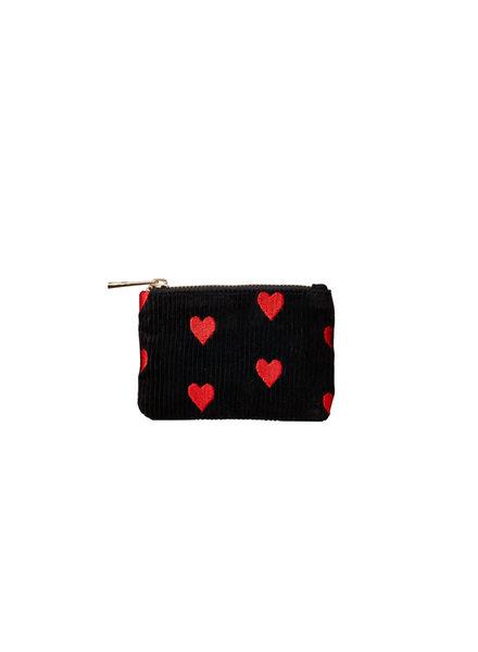 Bulu Brands, Wallet Rib of Hearts, Black&Red