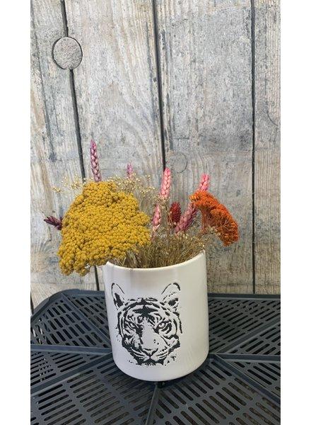 Vaasje tiger, incl droogbloemen