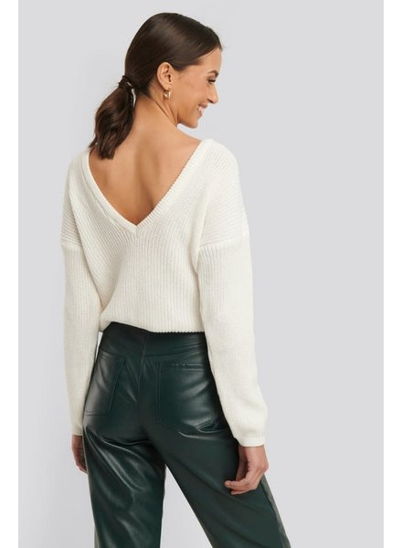NA-KD Deep V-neck sweater, White