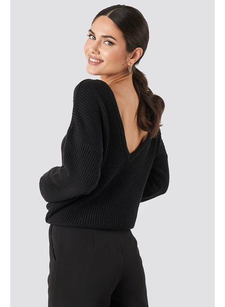 NA-KD Deep V-neck sweater, Black