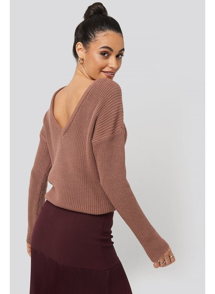 NA-KD Deep V-neck sweater, Pink