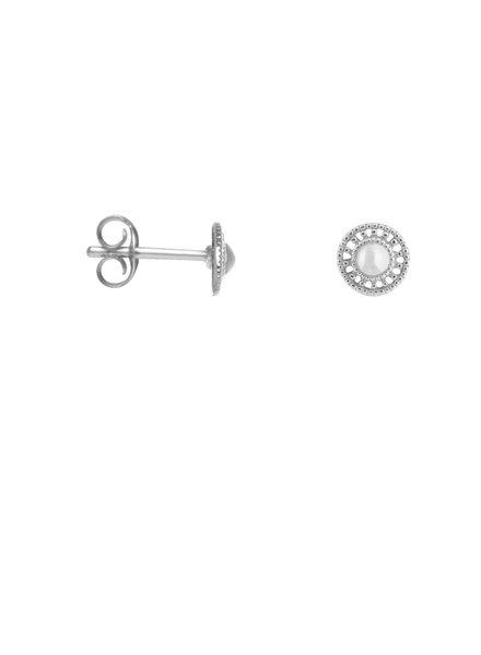 Label Kiki, Earring shield round, Silver