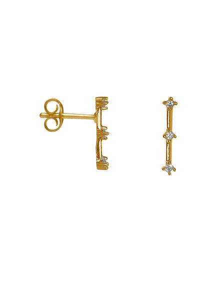 Label Kiki, Earring triple shiny bar, Gold