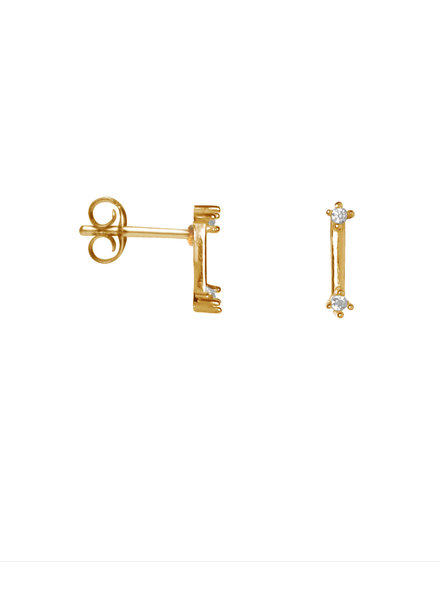Label Kiki, Earring double shiny bar, Gold