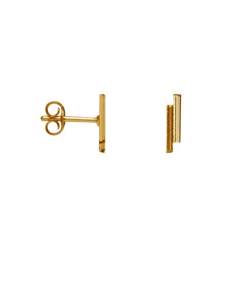 Label Kiki, Earring double bar, Gold