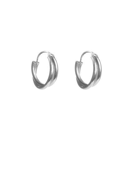 Label Kiki, Earring double twisted hoops, Silver
