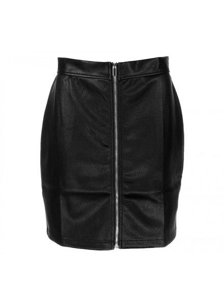 Colourful Rebel, Leather look zip skirt, Black
