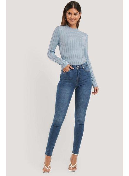 NA-KD Na-kd, Skinny high waist raw hem jeans tall, Mid Blue