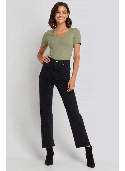 NA-KD Na-kd, Straight High Waist Jeans, Black