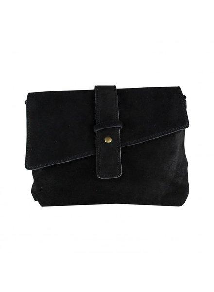 Baggy shop BS, Strap bag suede - zwart