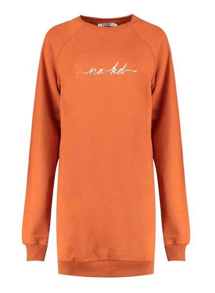 NA-KD Logo Sweater Dress, Orange