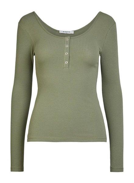 Pieces Pckitte Long sleeve top, Deep Lichen green
