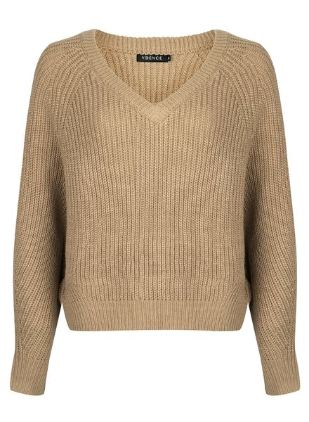 Ydence Ydence, knitted sweater Nathalie, beige