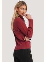 NA-KD Zip knit polo, Dark red