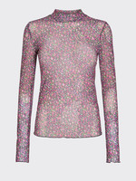 MOVES BLOUSE FILANA, ZWART/ROZE