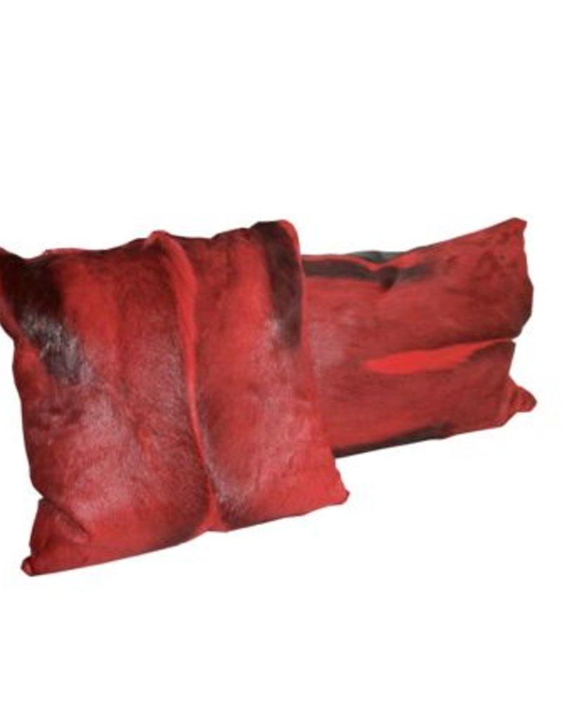 Springbockfell Kissen Rot - lang