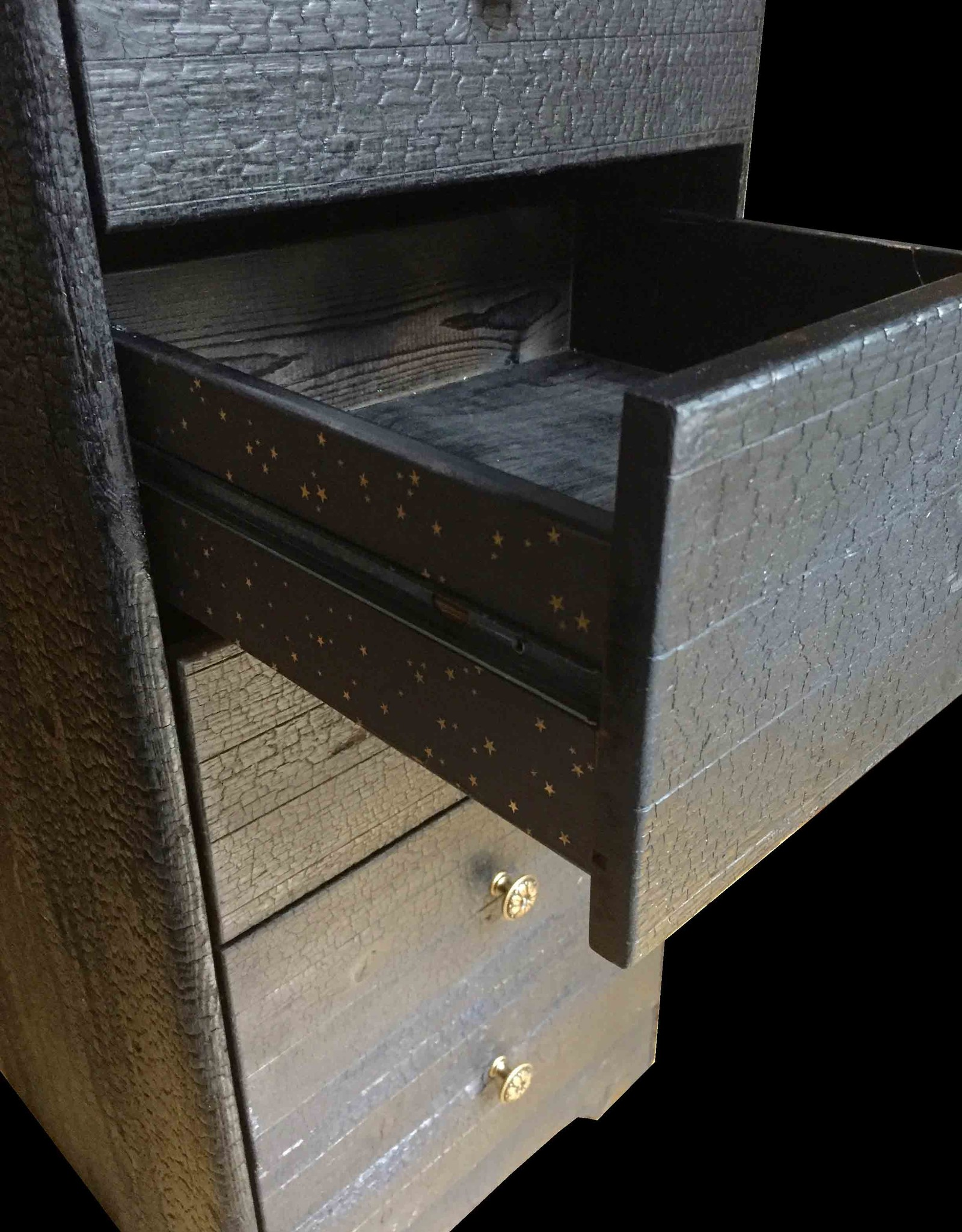 Flamed Wood Kommode Schrank Black Lounge