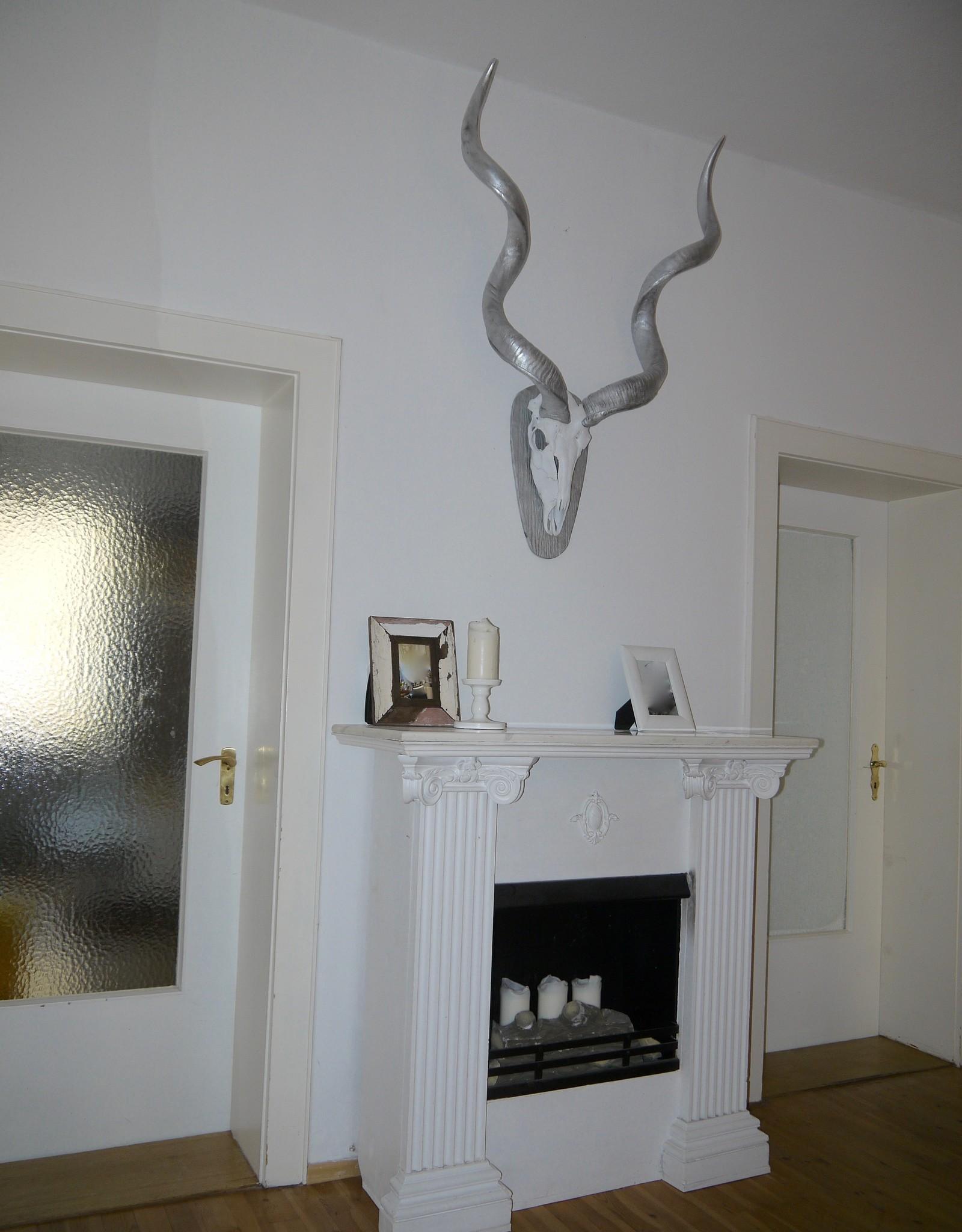 Kudu Hoerner in Silber, sehr groß