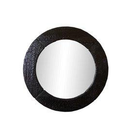 Shou Sugi Ban Spiegel Round Black / Flamed Wood Spiegel Black -