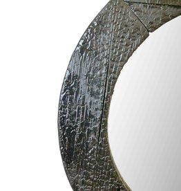 Spiegel Round Black / Flamed Wood Spiegel Black -