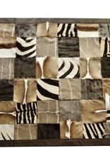 Fell Teppich aus echten afrikanischen Wildtierfellen - mit Lederumrandung
