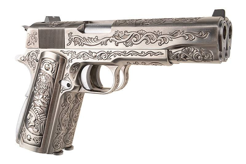 WE Tech 1911 Double Barrel GBB - Silber Antik